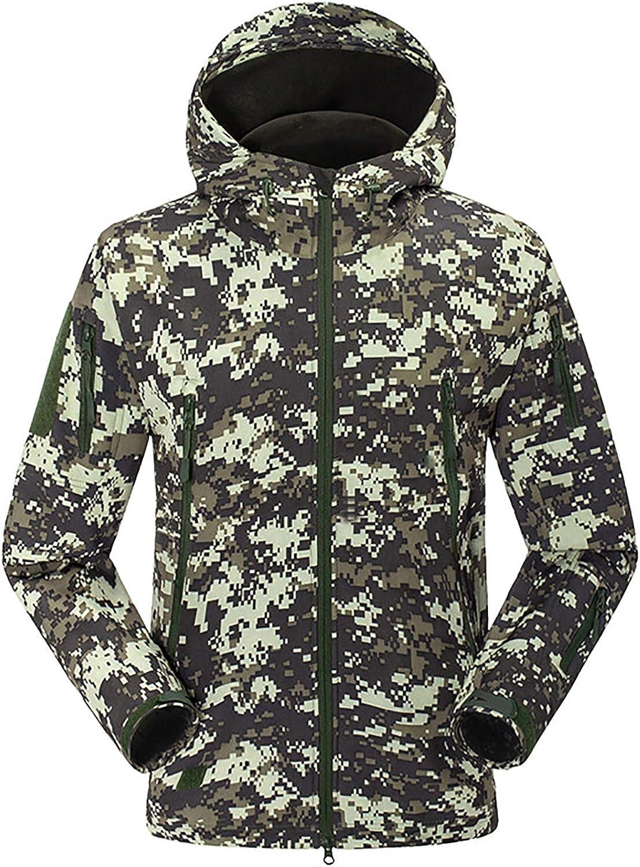 Men's Jacket Warm Softshell Fleece Detachable Hooded Windproof and Waterproof Outerwear for Hiking Work Travel