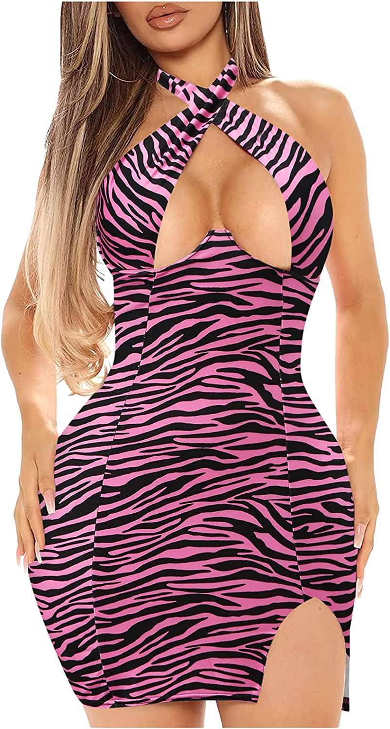 Wadonerful Sexy Dresses for Club Night Plain Crisscross Halter Neck Hollow Out Bodycon Mini Dress Party Clubwear Striped