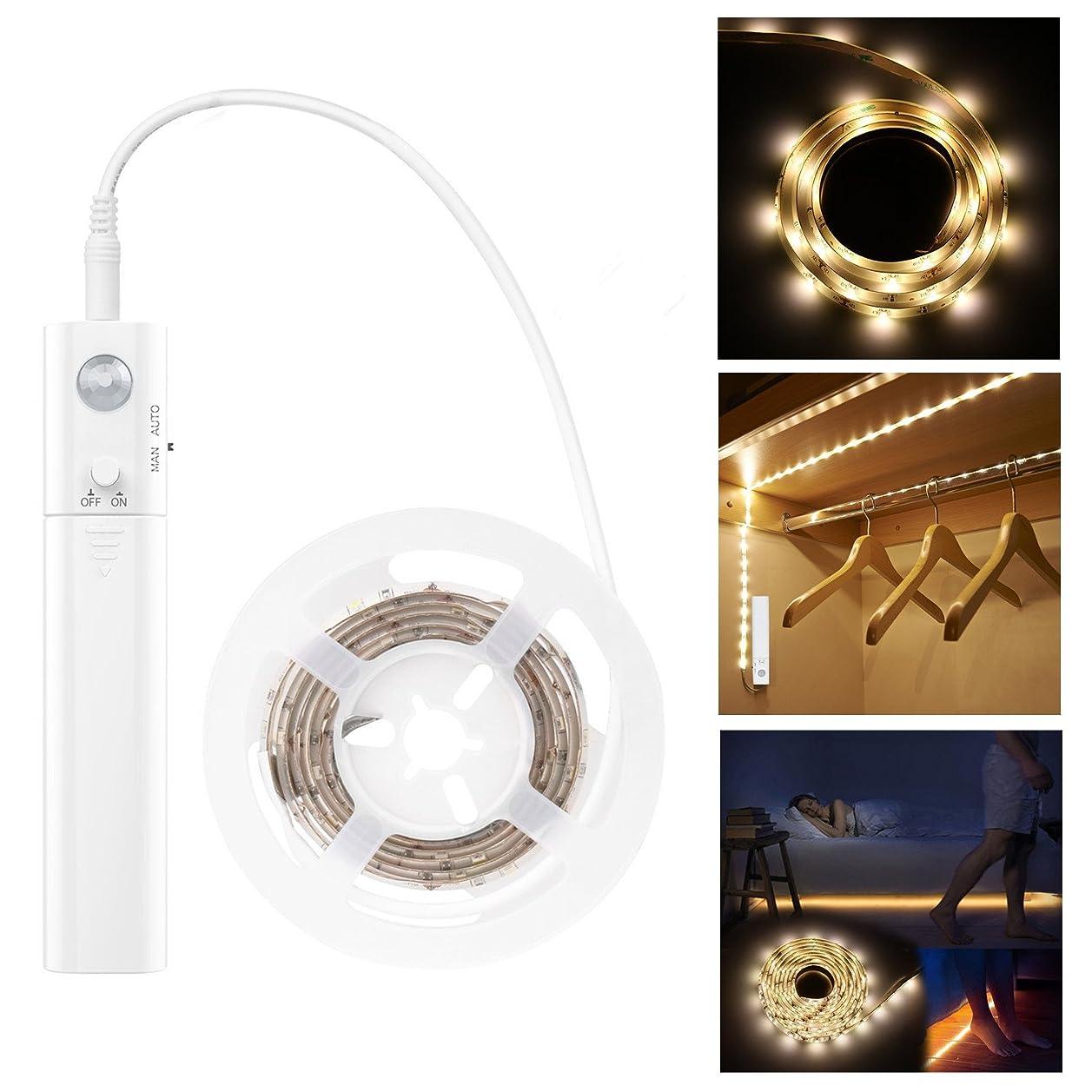 ジェム債権者保存LED テープライト LHY 人感センサーライト 電池式 ベッドライト 手動操作 革新的な設計 長さ1m 防水可能 乾電池式 自動点灯 消灯 省エネ 柔らかい 自由で形を設計 切断可能 正面発光 - 電球色