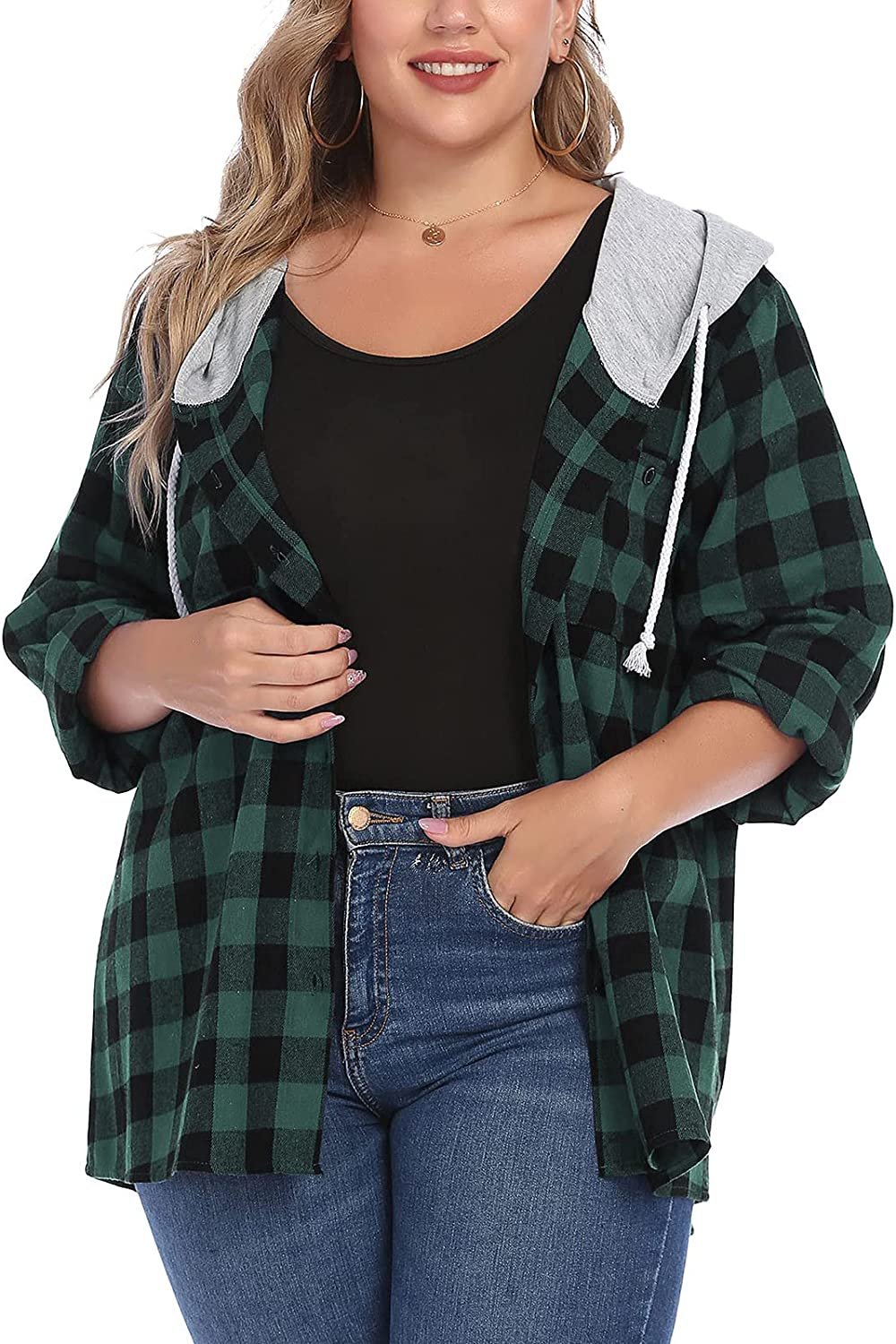 JPLZi Womens Plus Size Flannel Plaid Hoodie Long Sleeve Plaid Shirt Jacket with Hood Button Down Casual Shirts Blouse Tops