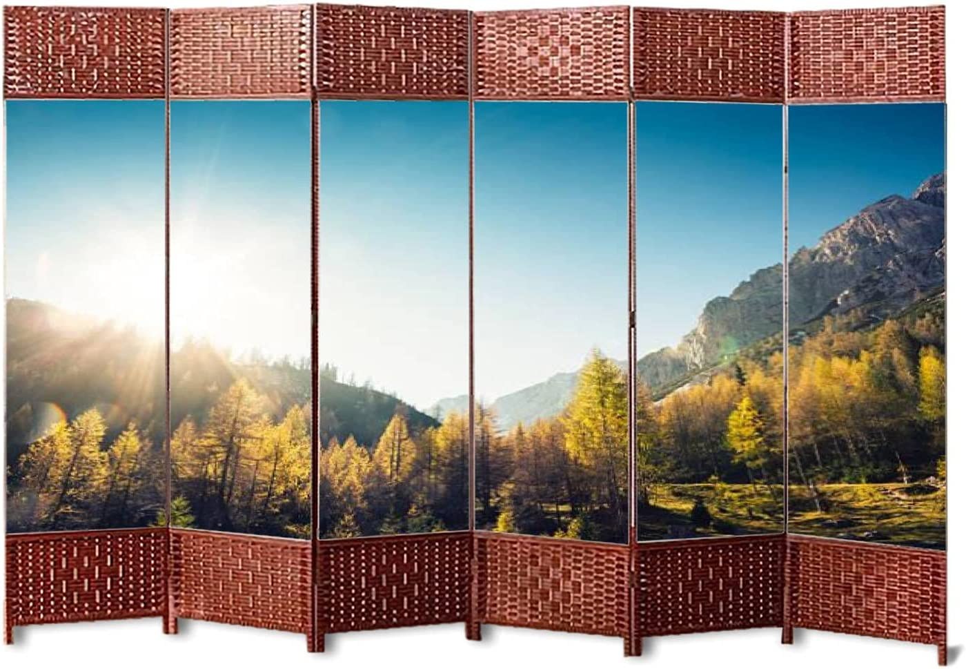 6 Panels Weave Folding Room OFFer Divider Larch Fo Canvas Golden Trees Limited price sale