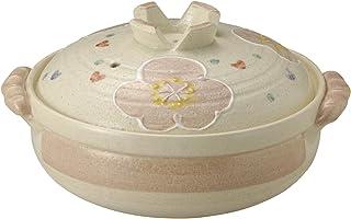 萬古焼 土鍋 (深鍋) 9号 4-5人用 ピンク花紋 13697