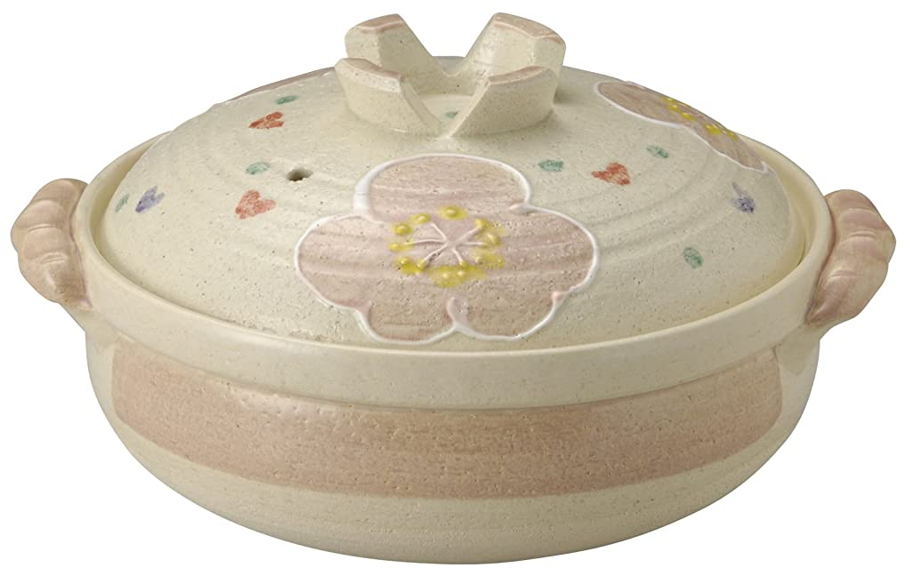 トランスミッション酸っぱい商人萬古焼 土鍋 (深鍋) 9号 4-5人用 ピンク花紋 13697
