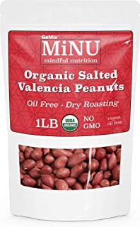 GoMix Organic Roasted Peanuts with salt, 16 oz ( 1 lb), #1 Keto Paleo Snack, MiNU Mindful Nutrition, Salted, Superfood, Protein, Vegan, NonGMO, Gluten Free