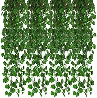 Kalolary 78 Ft 12 Strands Artificial Ivy Garland Leaf Vines Plants Greenery, Hanging Fake Plants, for Wedding Backdrop Arch Wall Jungle Party Table Office Decor (Watermelon Leaf)