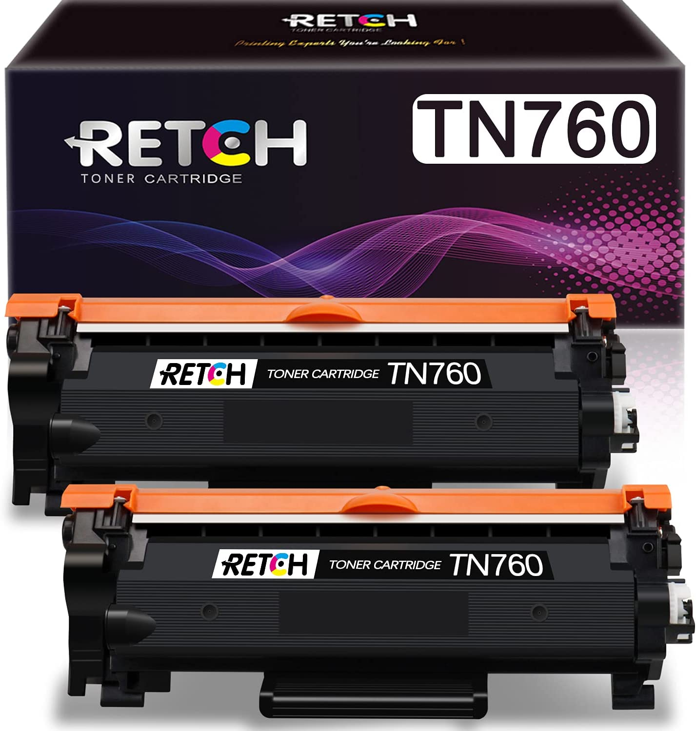 RETCH Compatible Toner Cartridges Tray 2 Pack Black Replacement for Brother TN760 TN-730 to use with Brother HL-2350DW HL-2370DW HL-L2359DW HL-2390DW MFC-L2710DW Printer