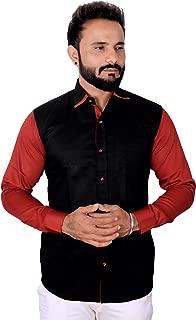 REBANTA Mens Casual Shirt Black Maroon Full Sleeves