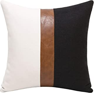 Merrycolor Thick Black Linen Farmhouse Lumbar Throw Pillow Cover Black Brown Color Block Decorative Linen Faux Leather Tic...