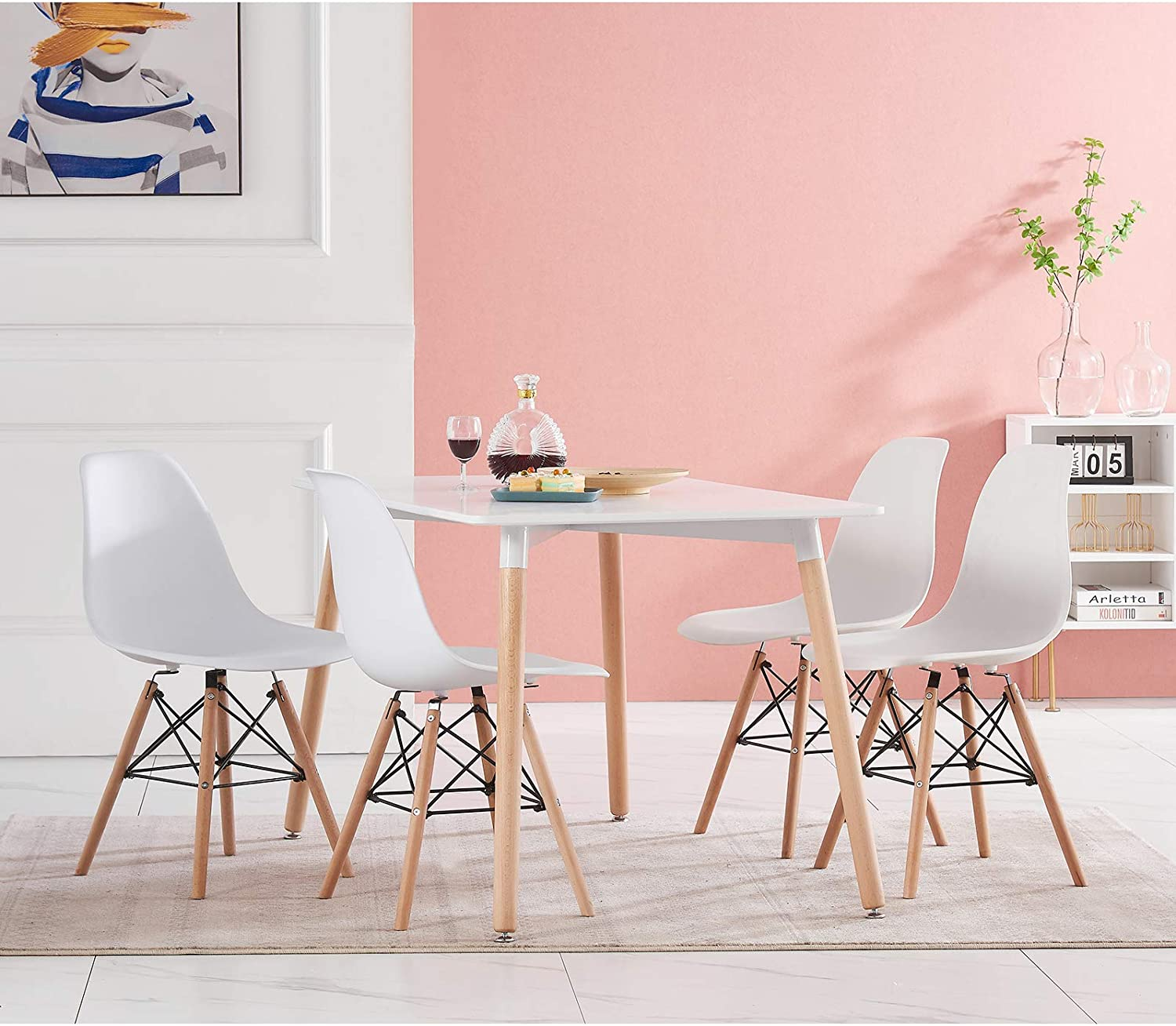 Buy AINPECCA Dining Room Table and Chairs Set 9 White Modern ...