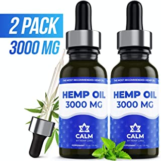 (2-Pack) Premium Hemp Oil Extract - 3000 MG - Anxiety, Pain & Stress Relief - Grown & Made in USA - 100% Natural Hemp Drops - Omega 3, 6, 9 - Helps with Sleep, Skin & Hair - Peppermint