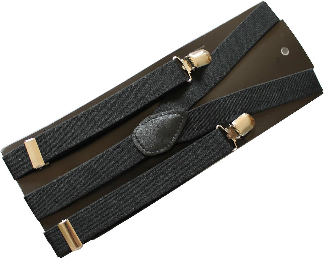 New Suspender 2.5cm Unisex Clip-on Braces Elastic Y-back