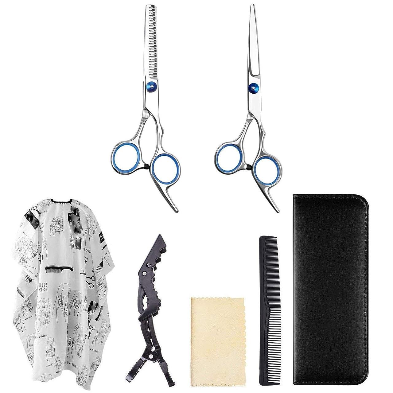 舗装する音声学理解シザー カットシザー ヘアカットはさみ/間伐用はさみ/プロの理髪師/サロンかみそりエッジツールセット/サロンケープサロン、理髪店、およびヘア愛好家に最適 ヘアカット シザー