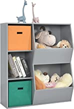 Costzon 5-Cubby Kids Bookcase with Extra Large Storage Baskets, Multi-Bin Children's Organizer Shelf with 3 Cubes and 2 Ca...