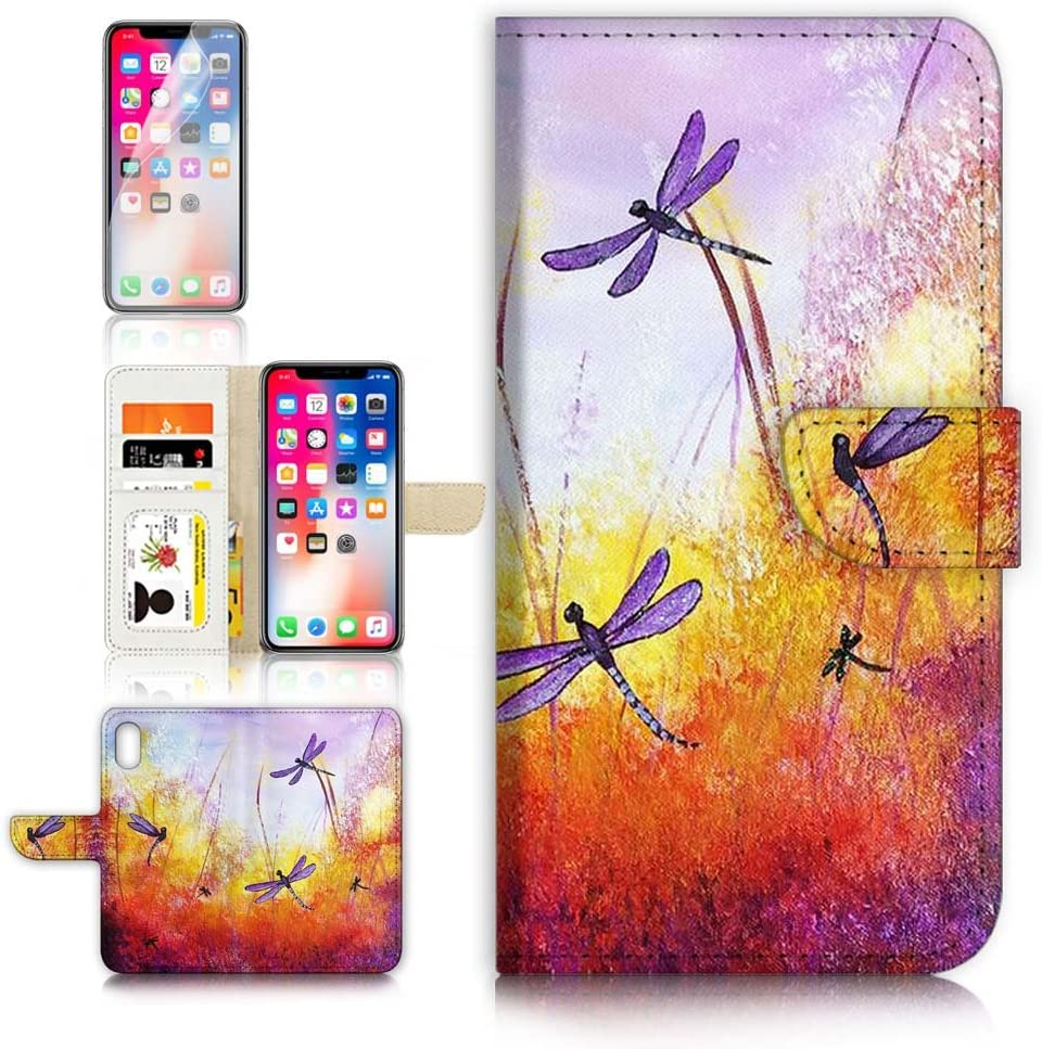 (for iPhone XR) Flip Wallet Case Cover & Screen Protector Bundle - A21092 Purple Dragonfly