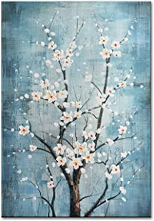 FLY SPRAY 100% Hand Painted Oil Paintings Canvas Wall Art Tree Flowers Blossom Blue Artwork Stretched Framed Texture Landscape Modern Abstract Elegant Painting Decor Living Room Bedroom Office Home