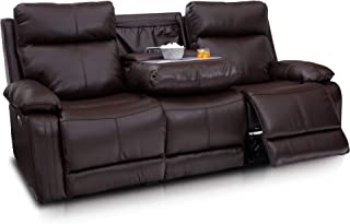 Seatcraft Allegiance Home Theater Seating Sofa - Leather - Power Recline - Fold-Down Table - Adjustable Powered Headrest and Lumbar - AC USB Wireless Charging - Storage - Cup Holders - Brown