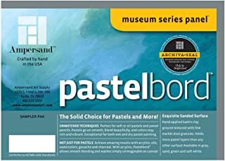Ampersand Museum Series Pastelbord for Pastels, Charcoal, Pencils and Ink, Assorted Colors, 1/8 Inch Depth, 5X7 Inch, Pack of 4