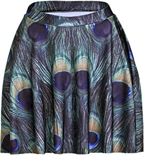 ASHER FASHION Womens Summer Plus Size Stretchy Plaid Print Pleated Mini Skirts