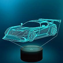 CooPark Samochodowa lampka nocna 3D, sport, samochód wyścigowy, lampa z pilotem zdalnego sterowania, 16 kolorów, na urlop,...