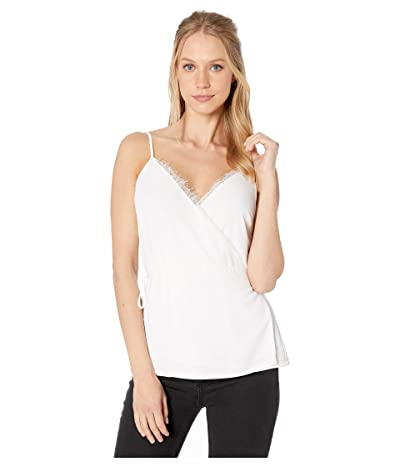 1.STATE Spaghetti Strap Wrap Front Cami with Lace (Soft Ecru) Women