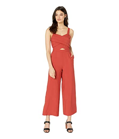 J.O.A. Long Jumpsuit with Pleats on Top (Rust) Women