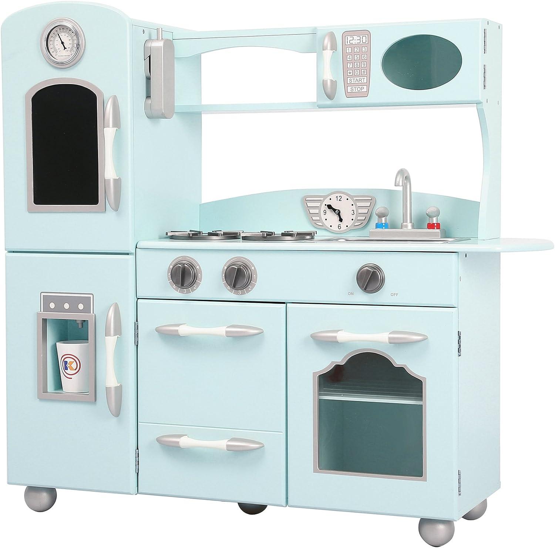 Teamson Kids Wooden Play Kitchen, bluee Green, 97.16x29.21x93.35cm