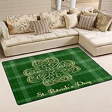 Doormat Saint Patrick's Day Shamrock 31x20 inch Welcome Holiday Floormat, Green Clover Plaid Outdoor Indoor Non Slip Bath ...