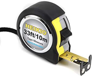 HEIKIO Tape Measure 33 Feet(10M), Double-sided Metric and Inch Scale with Fractions, Retractable Measuring Tape with Double Stop Buttons and Magnetic Hook