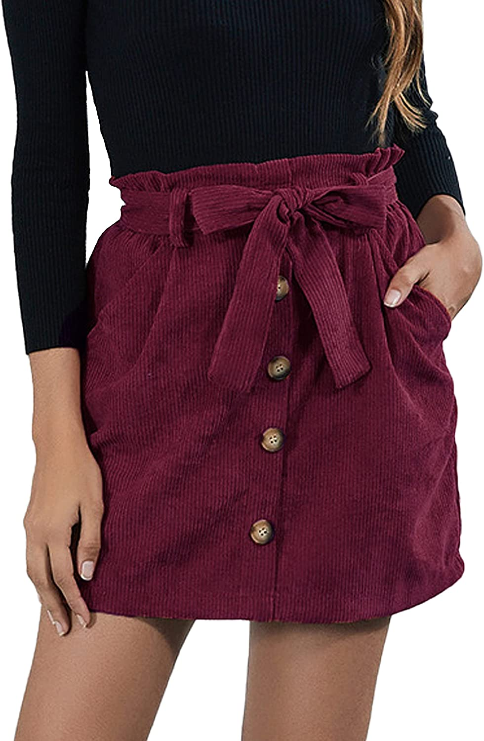 Bianstore Women's Corduroy Paperbag High Waisted Pockets Mini Skirts with Belt