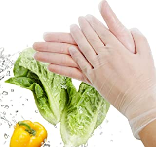 Gloves Nitrile Disposable Gloves Powder Free Food Grade Gloves Latex Free 100 Pc. Extra Large Size, Transparent CWCUICAN (Color : Clear, Size : L)