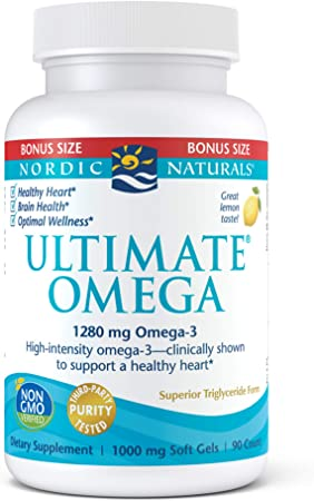 Nordic Naturals Ultimate Omega, Lemon Flavor - 1280 mg Omega-3 - 90 Soft Gels - High-Potency Omega-3 Fish Oil Supplement with EPA & DHA - Promotes Brain & Heart Health - Non-GMO - 45 Servings