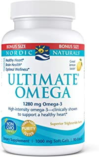 Nordic Naturals Ultimate Omega, Lemon Flavor - 1280 mg Omega-3-90 Soft Gels - High-Potency Omega-3 Fish Oil Supplement wit...