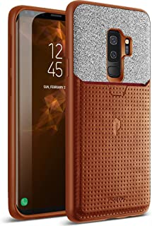 Galaxy S9 Plus Credit Card Case, Poetic Nubuck [Credit Card Slot][Pull-Tab]Credit Card ID Slot Case - Stylish Thin TPU + Premium Leather Back Case for Samsung Galaxy S9 Plus Brown