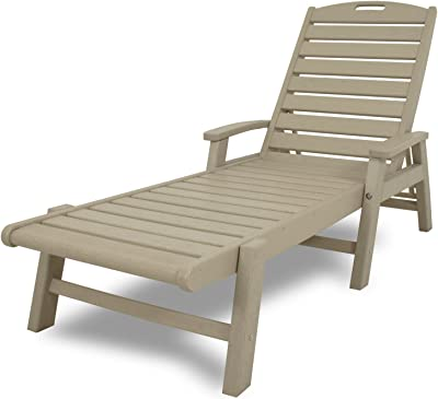 Trex Outdoor Furniture Yacht Club Stackable Chaise Lounger with Arms, Sand Castle