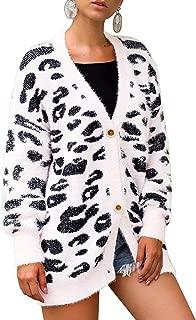 Arjungo Women's Cozy Slouchy Open Front Animal Leopard Pattern Fluffy Faux Button Down Loose Knit Sweater Cardigan Outwear