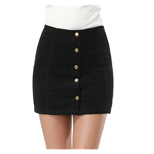036b9ec8c Clarisbelle Women's High Waist Suede Button Closure A-Line Mini Skirt