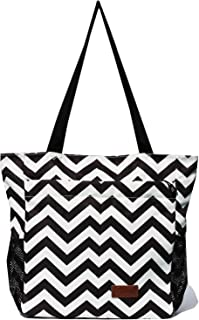 Original Floral Water Resistant Tote Bag Large Shoulder Bag with Multi Pockets for Gym Hiking Picnic Travel Beach Daily Bags (Black White Wave)