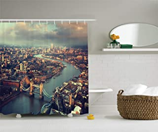 Printing London Aerial View Shower Curtain Set, Panoramic Picture of Thames River and Tower Bridge, Polyester Fabric Bathroom Decor Sets with Hooks, 60 x 72 Inches Teal Cream