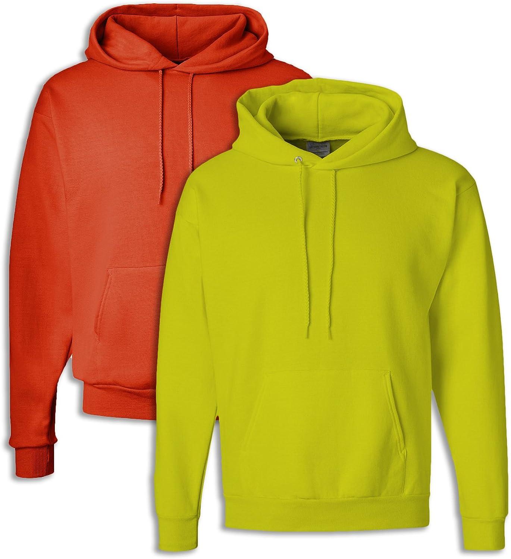 Hanes P170 Mens EcoSmart Hooded Sweatshirt Medium 1 orange + 1 Safety Green