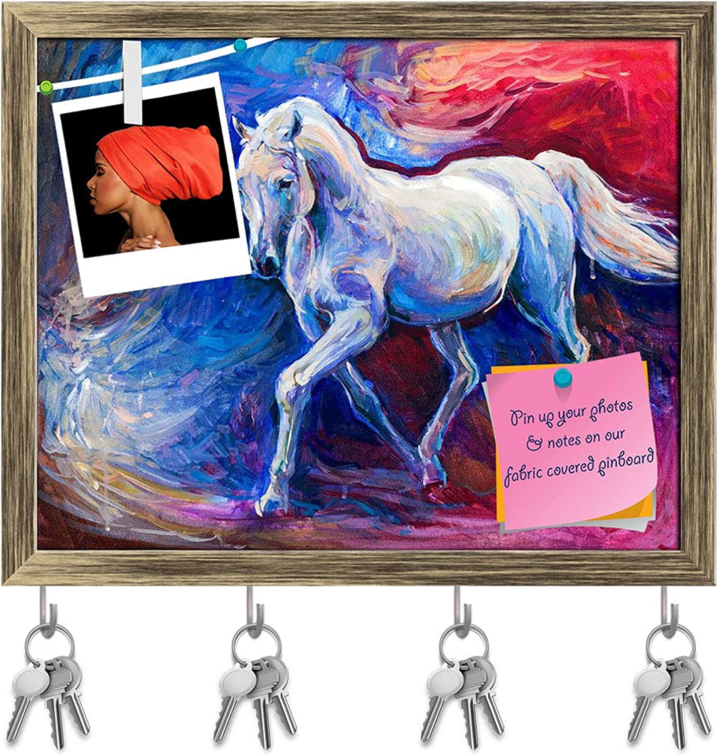 Artzfolio Abstract Artwork of A bluee Horse Key Holder Hooks   Notice Pin Board   Antique golden Frame 19.8 X 16Inch