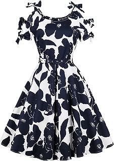 Women's Vintage 50s Retro Rockabilly Sleeveless Midi Dress Floral Type Dresses