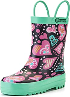 TideWe Rain Boots for Kids and Toddlers, Children Natural Rubber Rain Boots with Easy-On Handles, Waterproof Lightweight Kids Rain Boots in Fun Patterns for Boy and Girls