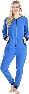 Women's Fleece Non-Footed Solid Color Onesie Pajamas Jumpsuit