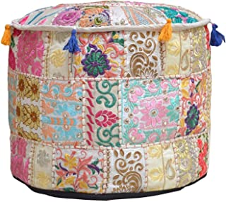 Jaipurstudio Indian Living Room Pouf, Foot Stool, Round Ottoman Cover Pouf Handmade Decorative Patchwork Ottoman Cover Beige Colour,Indian Home Decor Cotton Cushion Ottoman Cover 14x22