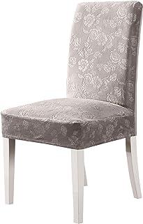 OSVINO Juego de 4 fundas protectoras de silla de terciopelo elástico con patrones para comedor, cocina, hotel, banquete, fiesta, ceremonia, color gris claro