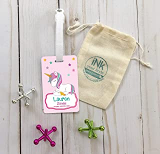 Personalized unicorn id backpack tag/custom name luggage tag/school name tag/custom backpack tag/personalized unicorn luggage tag/girl tag/suitcase tag
