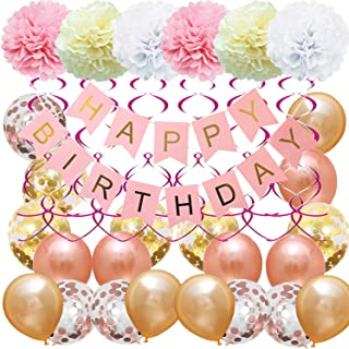 Junucubo Birthday Decorations |1 Rose Pink HAPPY BIRTHDAY Banner |10 Confetti Balloons | 5 Champagne Gold Latex Balloons,12 Inch | 5 Rose Gold Latex Balloons,12 Inch | 12 Pink Hanging Swirl ,23 inch |6 Paper Pompoms,8 inch |Birthday Party Supplies