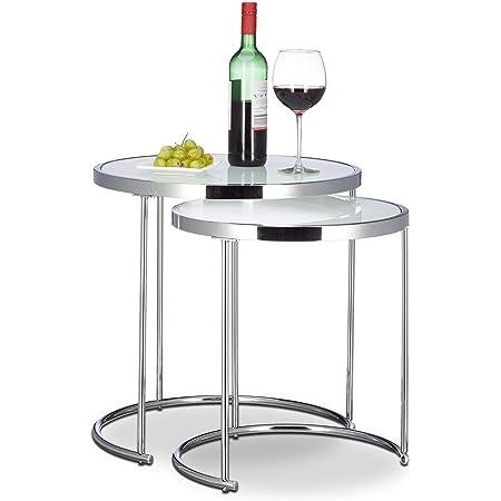 Relaxdays, argenté d'appoint ronde console table basse plateau verre blanc cadre chrome lot de 2 design moderne, 51 x 50 x 50 cm