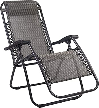 Zero Gravity Portable Reclining Lounge Foldable Outdoor Camping Beach Chair Grey
