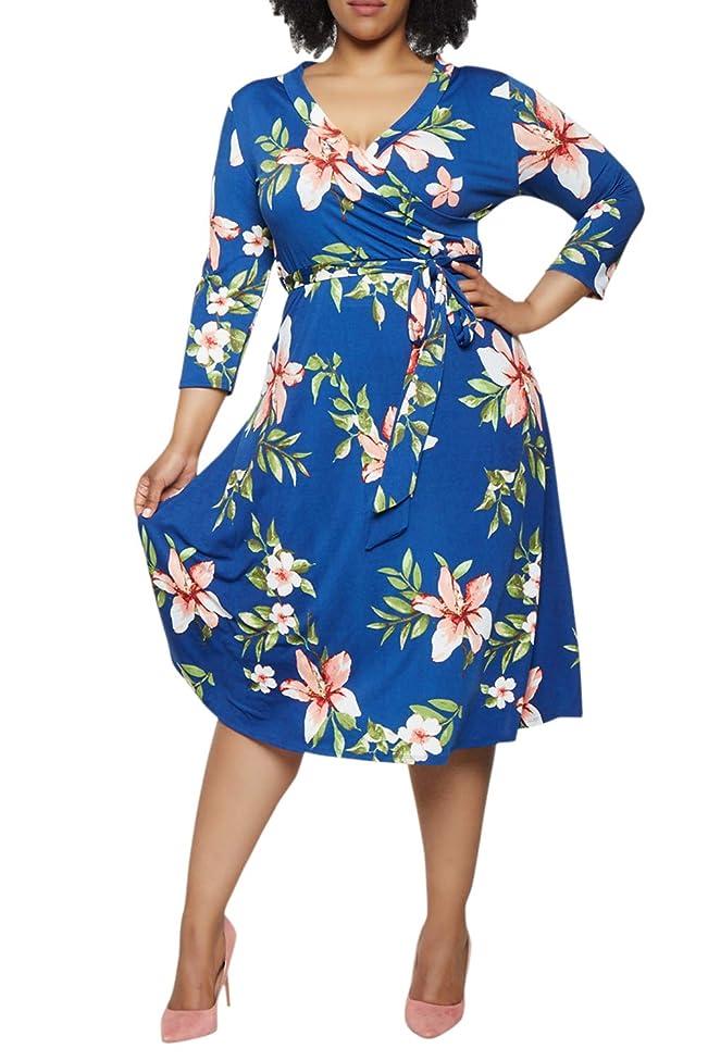 LaSuiveur Women's V Neck Plus Size Floral Dress with 3/4 Sleeves and Waist Belt